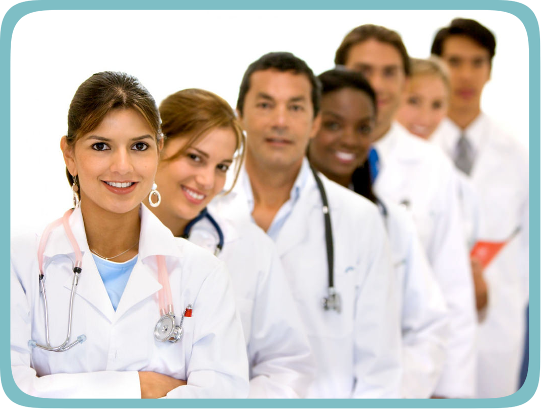 A variety of doctors and specialists
